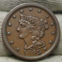 1849 BRAIDED HAIR HALF CENT -  ONLY 39,864 MINTED .  COIN 8302