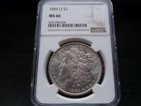 1884-O MINT STATE 66 MORGAN SILVER DOLLAR NGC CERTIFIED SUPERB GEM - WHITE/LIGHT GOLD