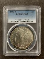 1882-S PCGS MINT STATE 63 MORGAN SILVER DOLLAR $1 UNITED STATES SLIGHTLY TONED