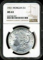 1921 MORGAN NGC MINT STATE 63 MOSTLY WHITE OLD SILVER DOLLAR COIN PHILADELPHIA MINT BU