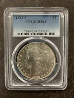 1882-S PCGS MINT STATE 63 MORGAN SILVER DOLLAR $1 UNITED STATES