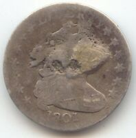 1801 DRAPED BUST DIME SCARCE EARLY DATE AG DETAILS CLEAR DAT