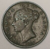 1854 UK GREAT BRITAIN BRITISH HALF 1/2 PENNY VICTORIA COIN D