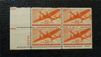 NYSTAMPS US AIR MAIL PLATE BLOCK  C31 MINT OG NH P BLOCK OF