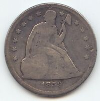 1859 O SEATED LIBERTY DOLLAR VG DETAILS