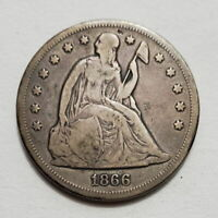 1866 $1 / DOLLAR / SEATED LIBERTY / SMALL MINTAGE / SILVER /