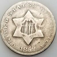 1852 THREE CENT PIECE, SILVER COMPOSITION