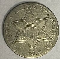 1858 THREE CENT SILVER - CIRCULATED