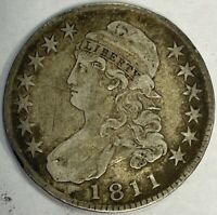 1811 CAPPED BUST HALF DOLLAR LARGE 8 - CIRCULATED OLD MINOR OBV SCRATCH