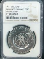 1971-S IKE $1 NGC PF65CAM COUNTER-STAMPED L.A. GAMES SUMMER 1984 OLYMPIC RUNNERS