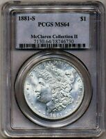 1881-S MORGAN PCGS MINT STATE 64 MCCLAREN II COLLECTION SILVER DOLLAR SAN FRANCISCO MINT