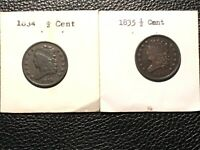 1834-1835 HALF CENTS HIGHER GRADE UNCLEANED COUPEL SMALL SCRATCHES ON THE 35