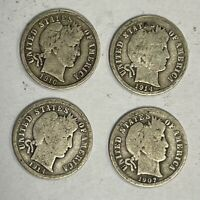 2X 1907,1914, 1916 LOT OF 4 BARBER DIMES - CIRCULATED