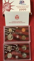 1999 SILVER PROOF SET  9 COINS  INCLUDES STATE QUARTERS
