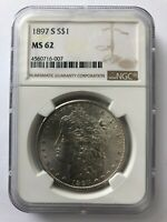 1897 S  NGC MINT STATE 62  S$1 MORGAN SILVER DOLLAR COIN