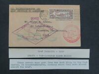 NYSTAMPS OLD US AIR MAIL STAMP C14 USED ON ZEPPELIN FLIGHT P