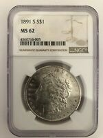 1891 S  NGC MINT STATE 62  MORGAN SILVER DOLLAR