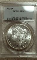1902 O MORGAN PCGS MINT STATE 63 SHINY BRIGHT WHITE SILVER DOLLAR COIN NEW ORLEANS MINT