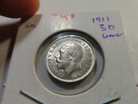 T147 GREAT BRITAIN 1911 3 PENCE UNC