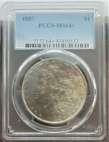 1887 MORGAN SILVER DOLLAR $1 PCGS MINT STATE 64 AWESOME TONING