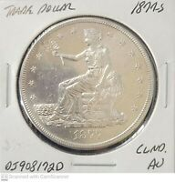 AU 1877 S TRADE DOLLAR CLEANED