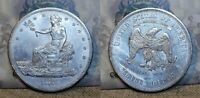 1875 CC SILVER TRADE DOLLAR $1 TYPE 1 REV. GREAT DETAILS SCRATCHES/OLD CLEANING