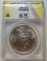 1894-S KEY DATE AU-58 ANACS MORGAN SILVER DOLLAR   SEE PICTURES