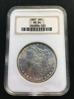 1887 S$1 SILVER MORGAN DOLLAR MINT STATE 64 OLD STYLE CASE RATTLER