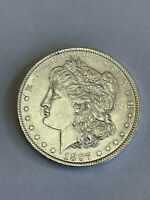 1897 P MORGAN SILVER DOLLAR $1 ABOUT UNCIRCULATED AU A96