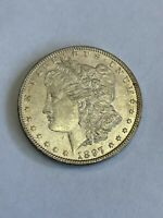 1897 P MORGAN SILVER DOLLAR $1 ABOUT UNCIRCULATED AU A113
