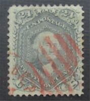 NYSTAMPS US STAMP  70B USED $900 RED CANCEL  S10X152