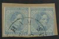 NYSTAMPS US CSA CONFEDERATE STAMP  7 USED PAIR ON PIECE   S1