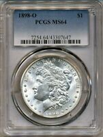 1898-O MORGAN PCGS MINT STATE 64 SHINY WHITE 90 SILVER DOLLAR COIN NEW ORLEANS MINT BU