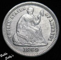 1869 S SEATED LIBERTY HALF DIME <> XF DETAILS