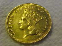 1878 $3 GOLD INDIAN PRINCESS XF  DETAILS CLEANED FROM JEWELR