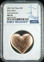 2021 GILT PALAU $5 ROSY HEART NGC MS70 EARLY RELEASE