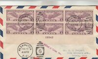 C12 WINGED GLOBE PLATE BLOCK ON FIRST DAY COVER