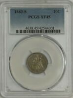 1863-S SEATED LIBERTY DIME 10C EXTRA FINE 45 PCGS 944671-26