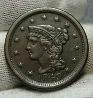 1849 LARGE CENT, BRAIDED HAIR PENNY -  COIN..N11 R-4 8970