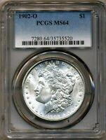 1902-O MORGAN PCGS MINT STATE 64 MOSTLY WHITE 90 SILVER DOLLAR COIN NEW ORLEANS MINT BU