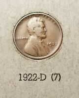 1922 NO D DIE 3 LINCOLN CENT    ESTATE    NICE