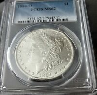 1884-O $1 MORGAN SILVER DOLLAR PCGS MINT STATE 62 / BRIGHT LUSTER GREAT COLOR