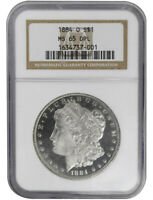1884-O $1, MORGAN DOLLAR NGC MINT STATE 65 DPL, OLD HOLDER SUPER CAMEO, SILVER COIN