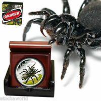 TUVALU DEADLY AND DANGEROUS 2012 FUNNEL WEB SPIDER .999 1OZ SILVER COIN 1$ PERTH