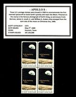 1969   APOLLO 8   MINT NEVER HINGED BLOCK OF FOUR VINTAGE U.S. POSTAGE STAMPS