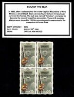 1984   SMOKEY THE BEAR   MINT  MNH  BLOCK OF FOUR POSTAGE STAMPS