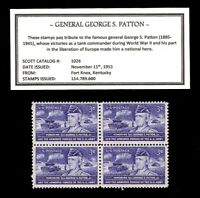 1953 GENERAL GEORGE S. PATTON    BLOCK OF FOUR VINTAGE U.S. POSTAGE STAMPS