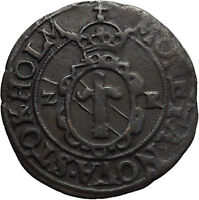 1573 KING JOHN III OF SWEDEN AE ORE AUTHENTIC ANTIQUE EUROPEAN COIN I45086