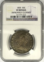 1805 DRAPED BUST HALF DOLLAR, NGC VF DETAILS
