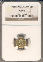 1904 LEWIS & CLARK $1.00 GOLD  NGC CERTIFIED MINT STATE 62 FROSTY DEEP LUSTRE